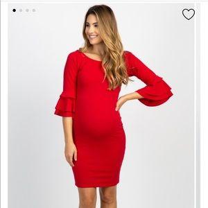 Maternity-Ruffle Sleeve Maternity Fitted Dress